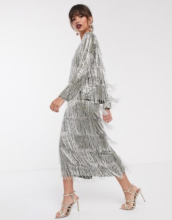 エイソス レディース スカート ボトムス ASOS EDITION sequin & fringe midi pencil skirt Olive green