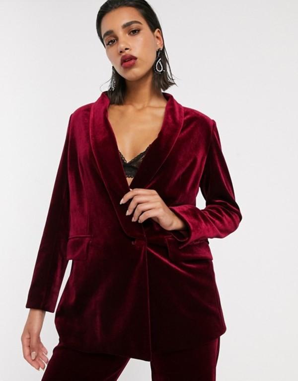 エイソス レディース ジャケット・ブルゾン アウター ASOS EDITION tailored blazer with shawl collar in velvet Oxblood