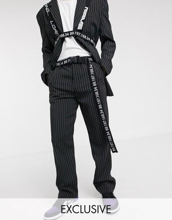 コルージョン メンズ カジュアルパンツ ボトムス COLLUSION cargo pants with typo belt Black