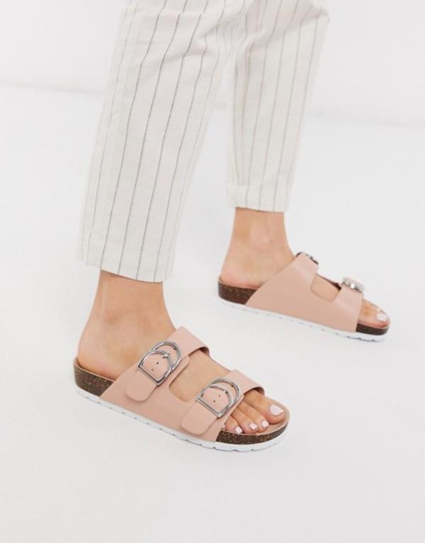 ロンドンレベル レディース サンダル シューズ London Rebel double buckle footbed sandal in beige Beige