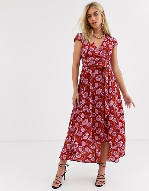 アックスパリ レディース ワンピース トップス AX Paris wrap midi dress in tile floral Red