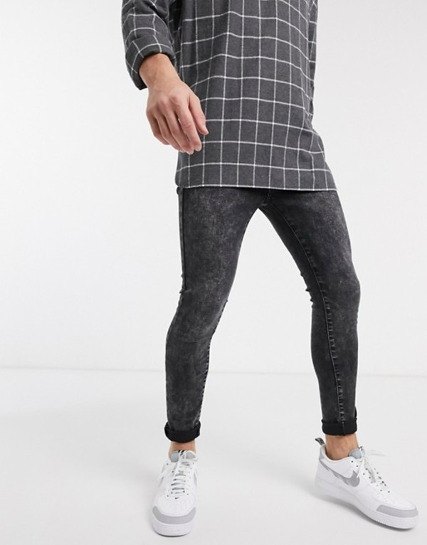 ニュールック メンズ デニムパンツ ボトムス New Look super skinny acid wash jeans in black Black
