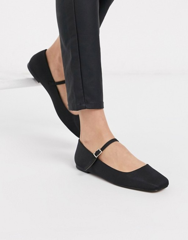 エイソス レディース パンプス シューズ ASOS DESIGN Late mary jane ballet flats in black Black