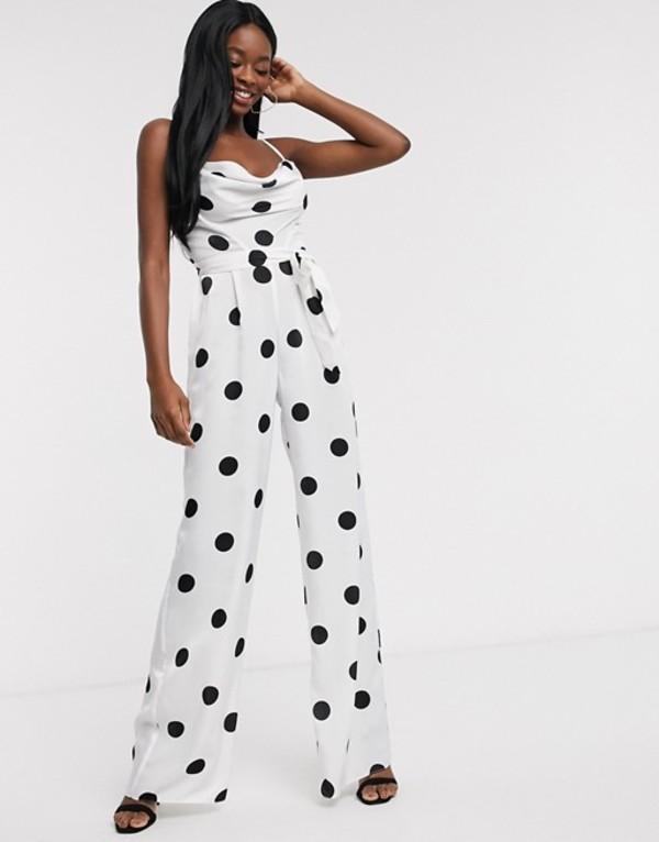 エイソス レディース ワンピース トップス ASOS DESIGN cowl neck jumpsuit with wide leg in white polka dot White/black