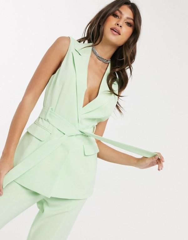 フォース&レックレス レディース ジャケット・ブルゾン アウター 4th + Reckless sleeveless longline blazer in mint Green