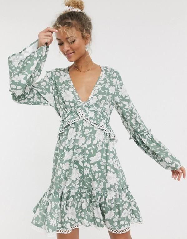 エイソス レディース ワンピース トップス ASOS DESIGN fluted sleeve open back skater mini dress with lace inserts in floral print Green based floral