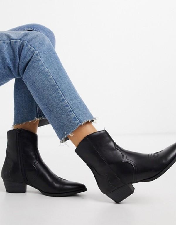 プルアンドベアー レディース ブーツ・レインブーツ シューズ Pull&Bear western ankle boots in black Black