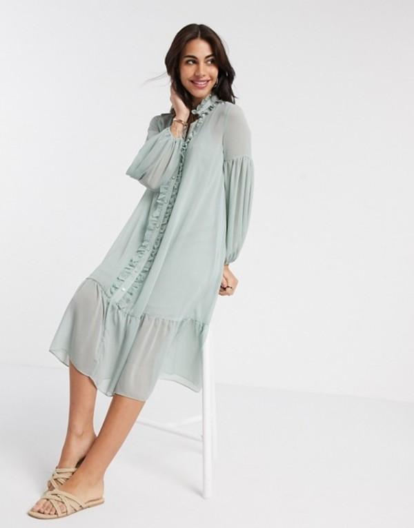 リバーアイランド レディース ワンピース トップス River Island long sleeve ruffle smock midi dress in sage green Sage