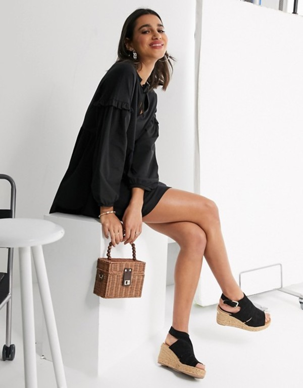 リバーアイランド レディース ワンピース トップス River Island long sleeve poplin tiered mini dress in black Black