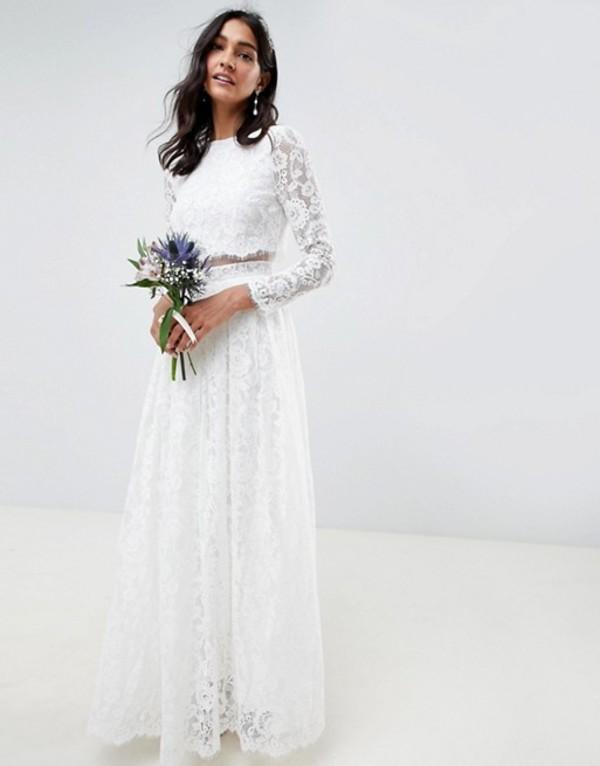 エイソス レディース ワンピース トップス ASOS EDITION lace long sleeve crop top maxi wedding dress White