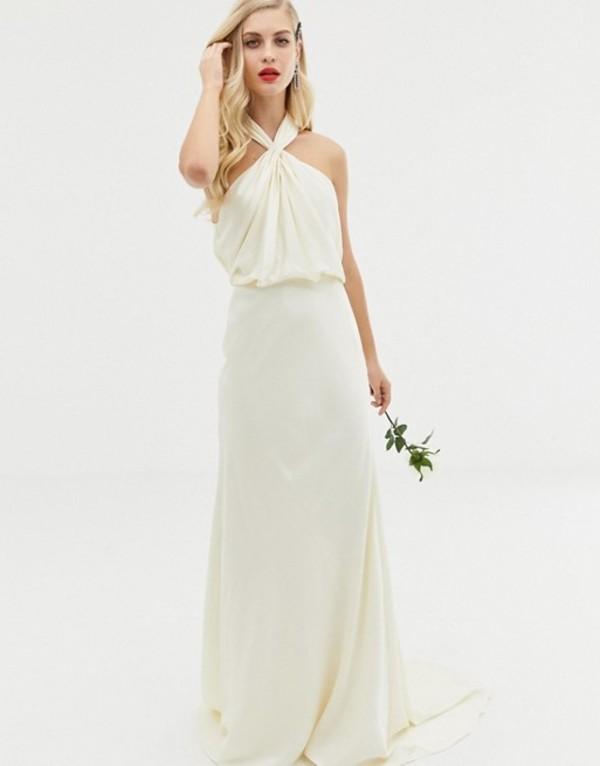 エイソス レディース ワンピース トップス ASOS EDITION ruched halter neck maxi wedding dress Ivory