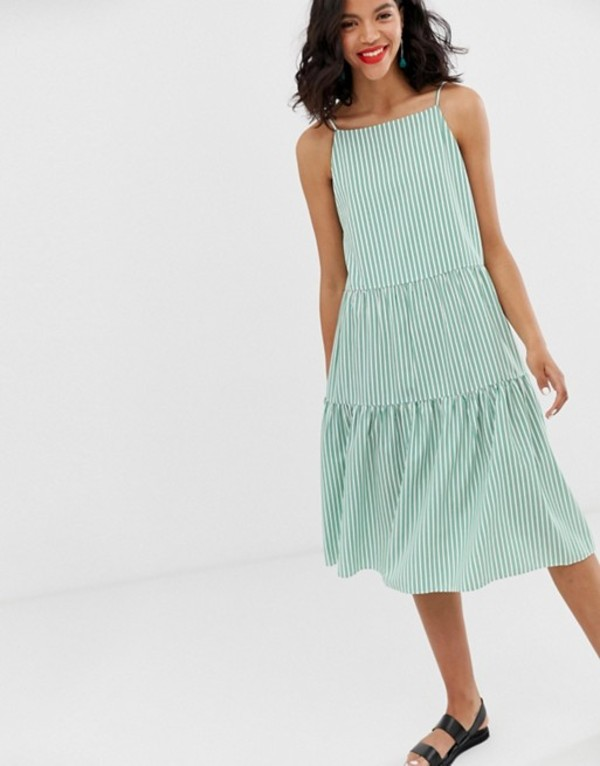 アンドアザーストーリーズ レディース ワンピース トップス & Other Stories gathered pleated midi dress in green and white stripes Green stripes