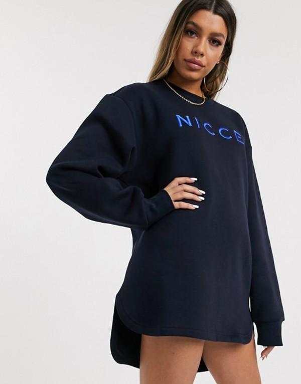 ニッチェ ロンドン レディース ワンピース トップス Nicce relaxed sweat dress with embroidered logo Deep navy