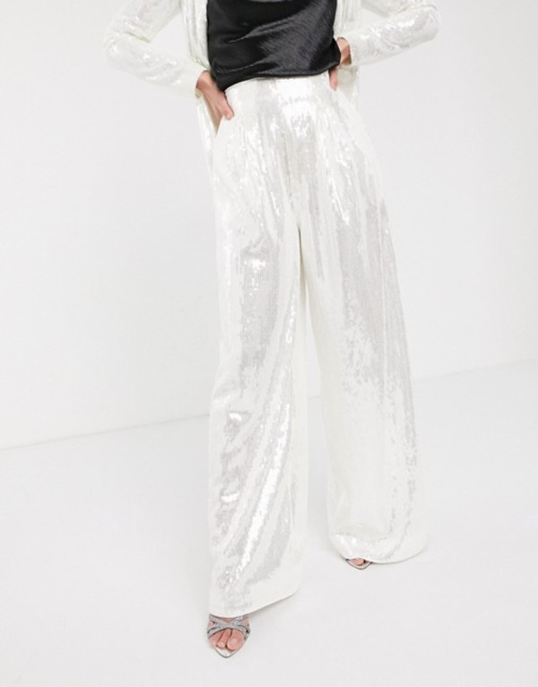 エイソス レディース カジュアルパンツ ボトムス ASOS EDITION wide leg pleat front pants in sequin Pale silver