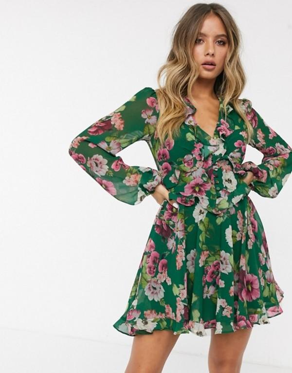 バードット レディース ワンピース トップス Bardot ruffle mini dress in green floral print Green floral