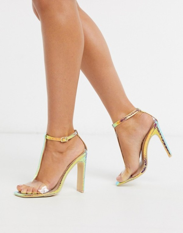 トリュフコレクション レディース ヒール シューズ Truffle Collection irredescent clear mix heeled sandals Irredescent gold