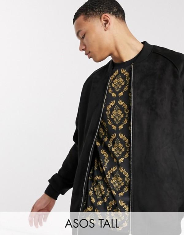 エイソス メンズ ジャケット・ブルゾン アウター ASOS DESIGN Tall faux suede bomber jacket in black Black