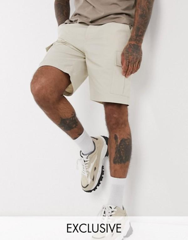 リクレイム ヴィンテージ メンズ ハーフパンツ・ショーツ ボトムス Reclaimed Vintage inspired cargo shorts in stone Stone
