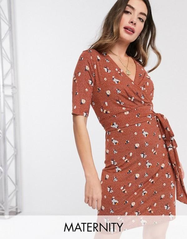 ママライシアス レディース ワンピース トップス Mamalicious Maternity wrap dress with nursing function in ditsy floral print Multi