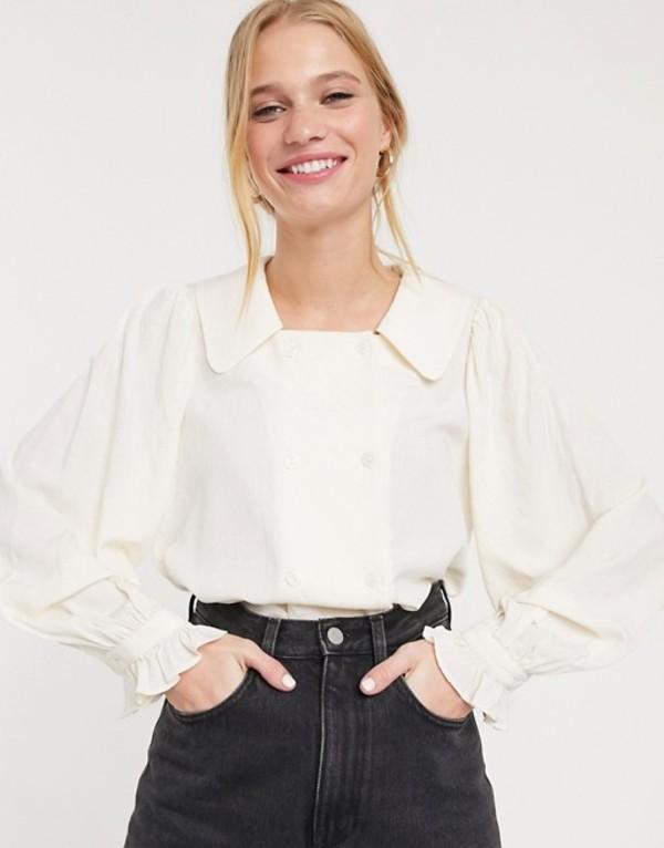アンドアザーストーリーズ レディース シャツ トップス & Other Stories double breasted cuffed sleeve blouse in off-white Off white