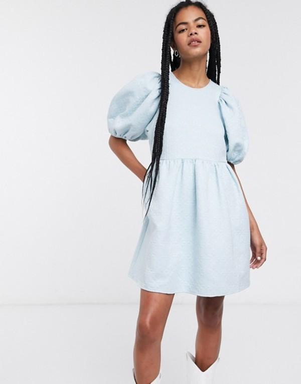 アンドアザーストーリーズ レディース ワンピース トップス & Other Stories puff sleeve jacquard mini dress in light blue Light blue
