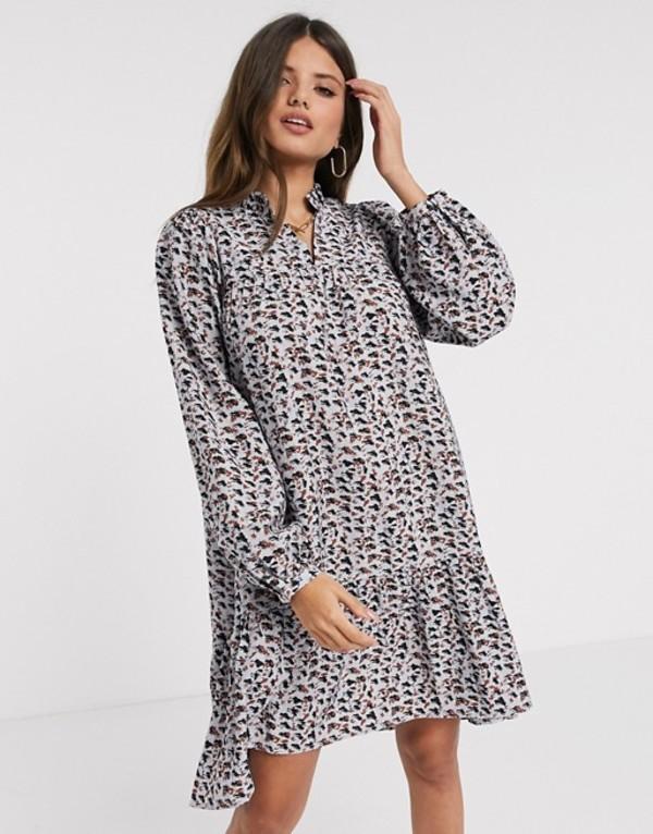 ヴェロモーダ レディース ワンピース トップス Vero Moda tiered smock dress with volume sleeve in blue abstract print Multi