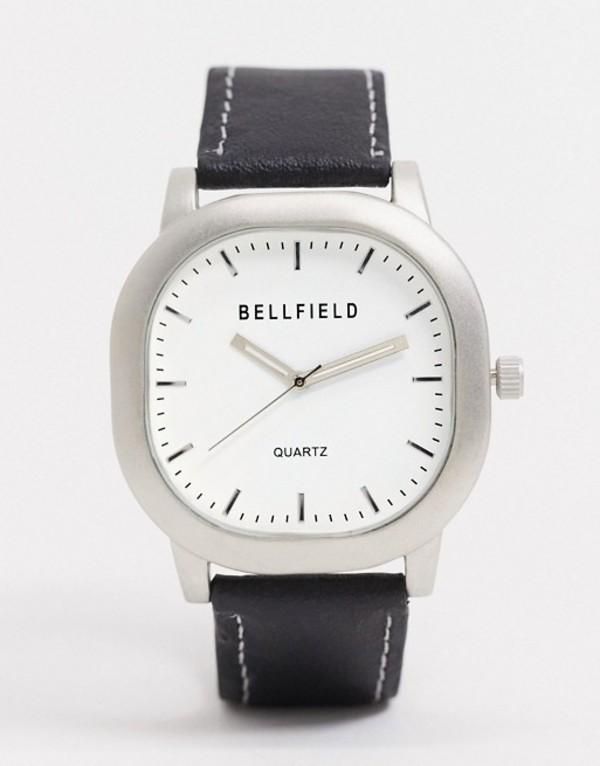 ベルフィールド メンズ 腕時計 アクセサリー Bellfield square watch with white dial Black