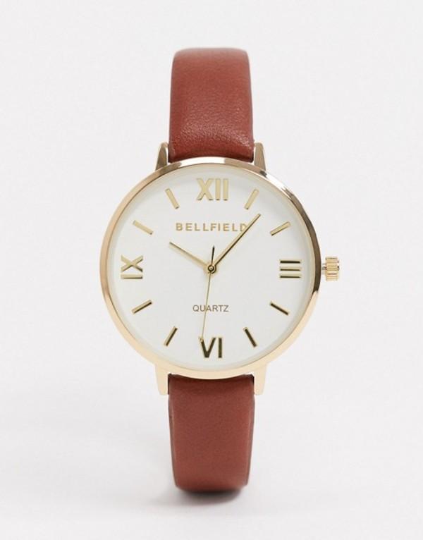 ベルフィールド メンズ 腕時計 アクセサリー Bellfield brown watch with white dial Brown