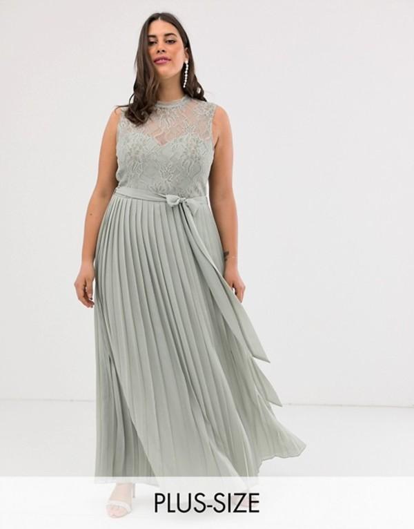 リトルミストレス レディース ワンピース トップス Little Mistress Plus lace embroidered top maxi dress in gray Gray