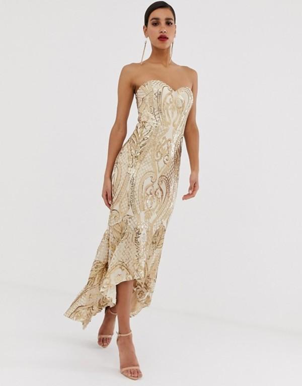 バリアーノ レディース ワンピース トップス Bariano embellished patterned sequin sweetheart maxi dress dress in gold Gold