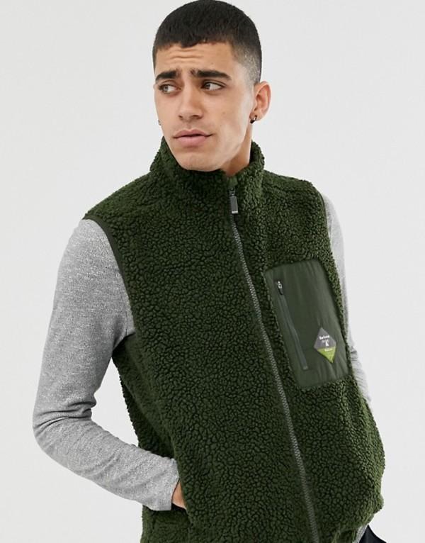 バーブァー メンズ タンクトップ トップス Barbour Beacon Lagg fleece vest in green Green