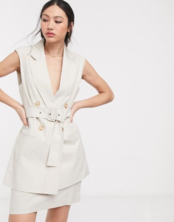 エイソス レディース ジャケット・ブルゾン アウター ASOS DESIGN linen sleeveless suit blazer Neutral