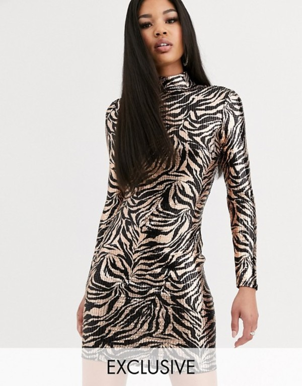 フラウンスロンドン レディース ワンピース トップス Flounce London metallic print mini dress in black and rose gold MultirxBeWdoC