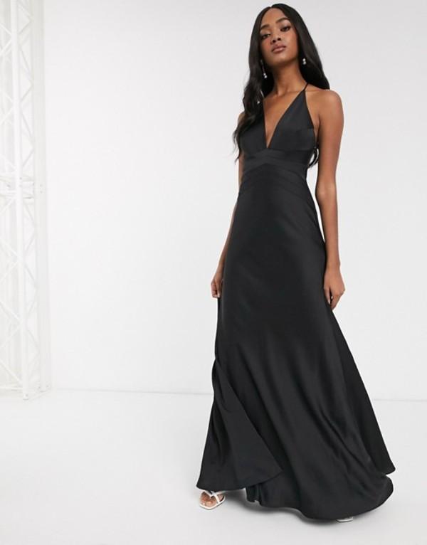 エイソス レディース ワンピース トップス ASOS EDITION satin paneled cami maxi dress Black