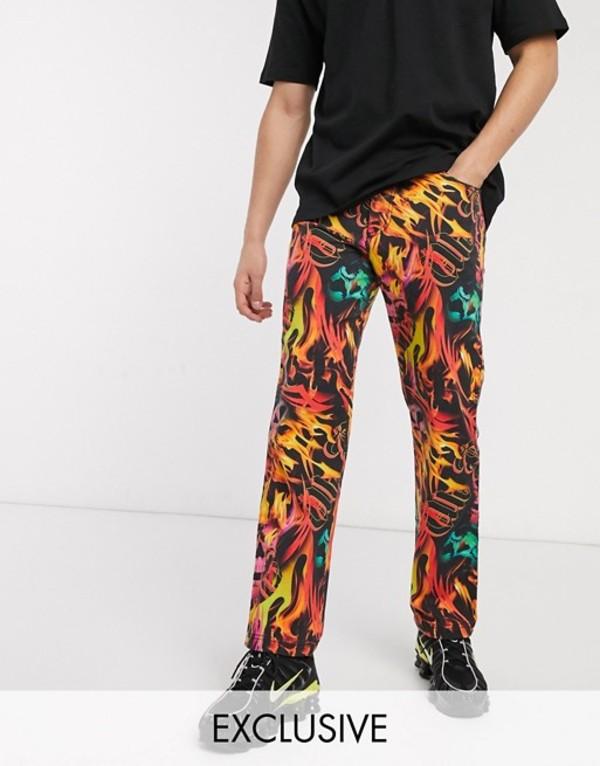 コルージョン メンズ カジュアルパンツ ボトムス COLLUSION fire print pants Multi