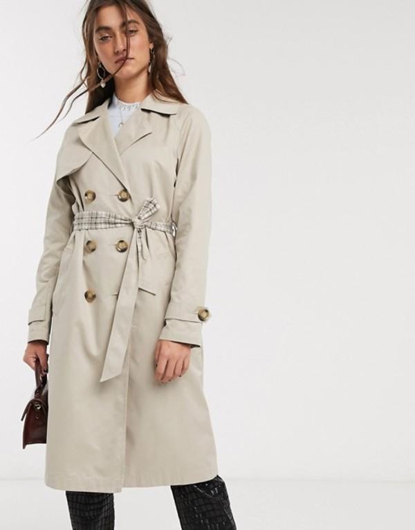 オンリー レディース コート アウター Only trench coat with check lining in beige Beige