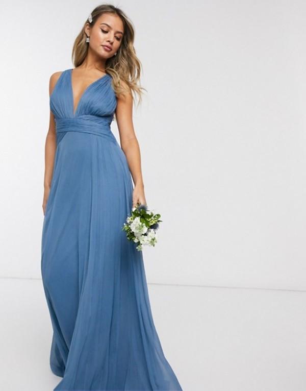 エイソス レディース ワンピース トップス ASOS DESIGN Bridesmaid ruched bodice drape maxi dress with wrap waist in blue Blue