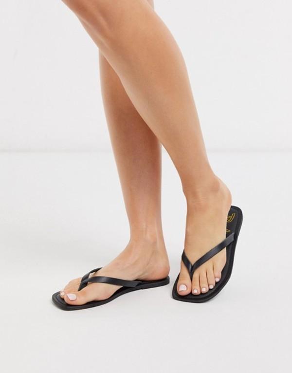 ルールロンドン レディース サンダル シューズ Rule London leather square toe flip flops in black Black leather