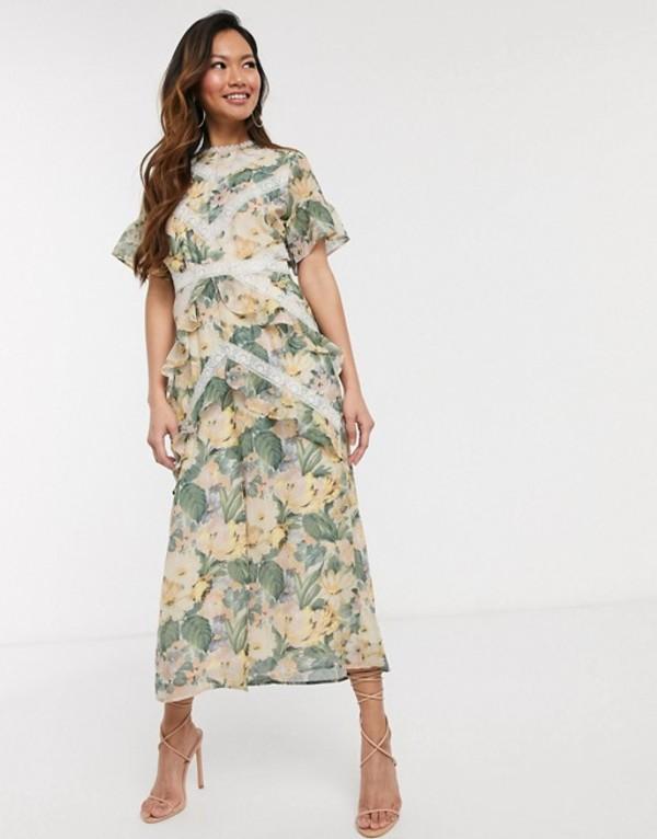 ホープ&アイビー レディース ワンピース トップス Hope & Ivy midi dress with lace panels in spring rose print Multi