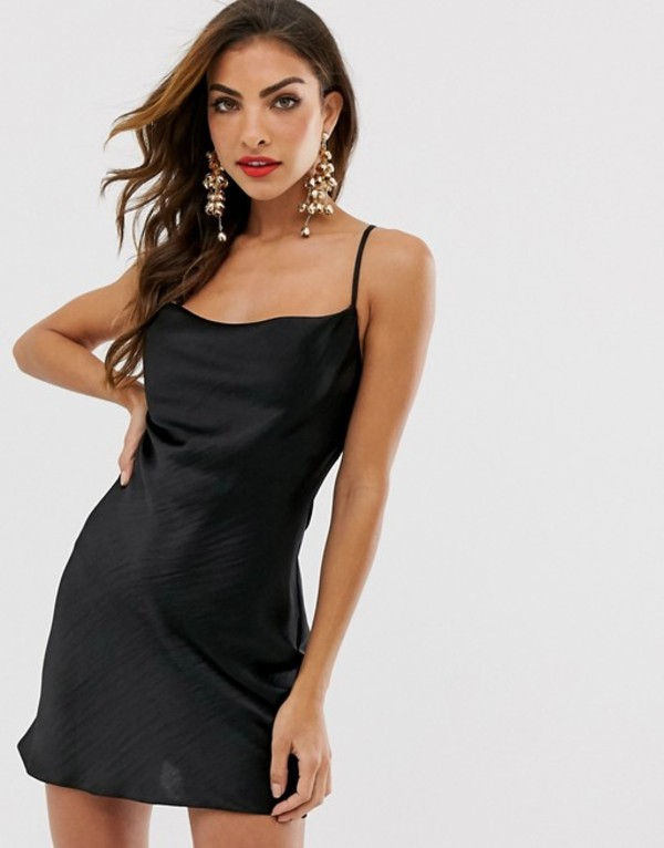 エイソス レディース ワンピース トップス ASOS DESIGN cami mini slip dress in high shine satin with lace up back Black