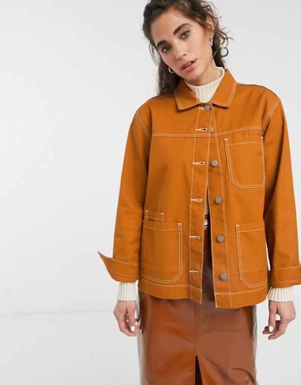 ドクターデニム レディース ジャケット・ブルゾン アウター Dr Denim contrast stitch worker jacket Cognac