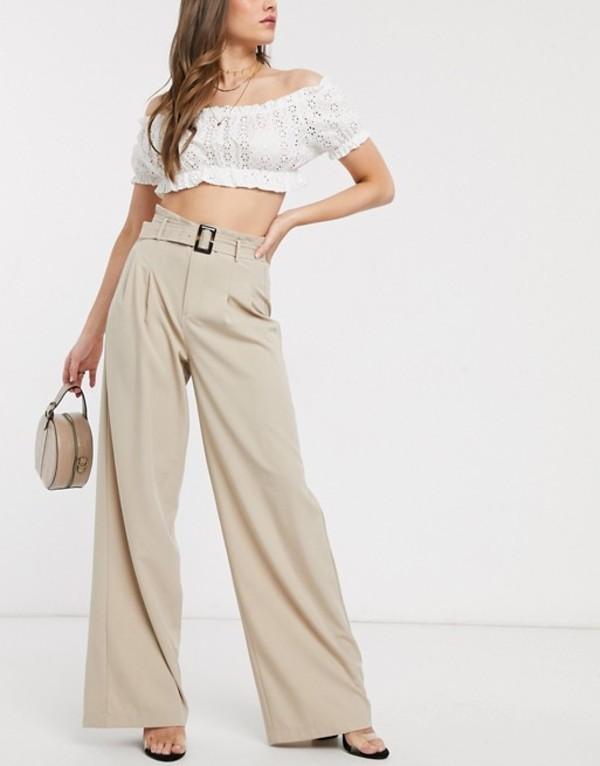 アウトレイジャスフォーチュン レディース カジュアルパンツ ボトムス Outrageous Fortune wide leg pants with belt detail in cream Cream