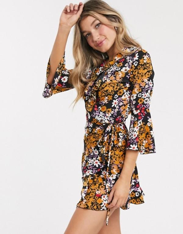 アウトレイジャスフォーチュン レディース ワンピース トップス Outrageous Fortune ruffle wrap dress with fluted sleeve in floral print Multi