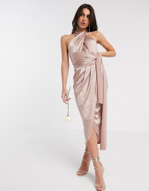 ティエフエヌシー レディース ワンピース トップス TFNC Bridesmaid multi way midi dress in shiny fabric Mink