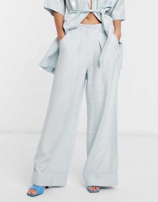 ネイティブユース レディース カジュアルパンツ ボトムス Native Youth relaxed wide leg tailored pants two-piece Ice blue
