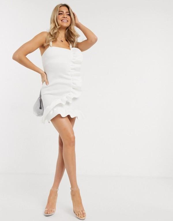 エイソス レディース ワンピース トップス ASOS DESIGN ruffle detail cami mini structured dress Ivory