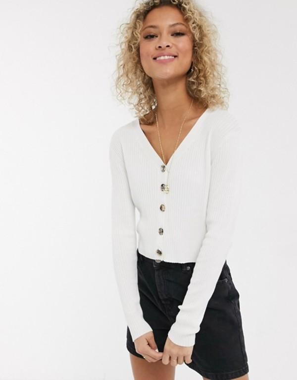 アーバンブリス レディース カーディガン アウター Urban Bliss knitted top with buttons Cream