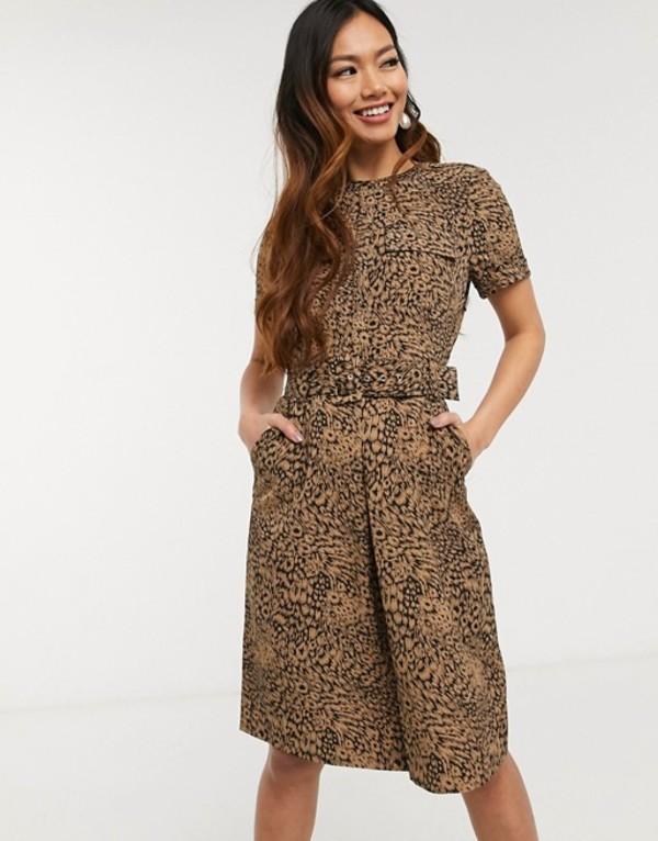オアシス レディース ワンピース トップス Oasis utility dress in animal print Animal