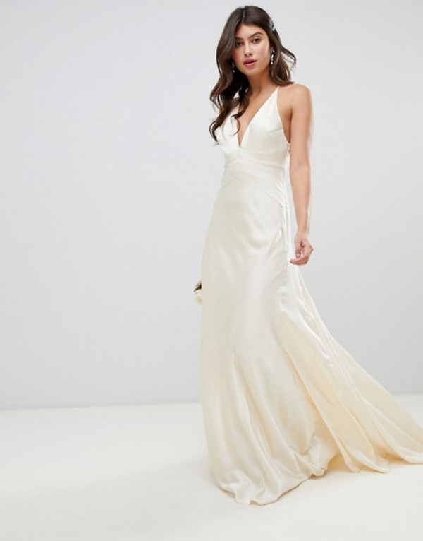 エイソス レディース ワンピース トップス ASOS EDITION satin paneled wedding dress with fishtail Oyster