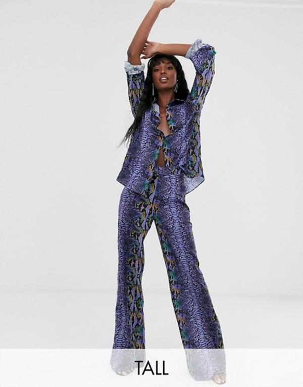 トーラーザンユアアベレージ レディース カジュアルパンツ ボトムス TTYA wide leg pants in purple python print Purple